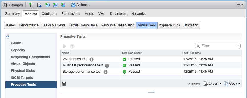 vSAN Proactive Test Results