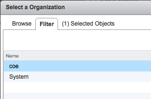 Image: vSphere Web Client Filter to select Organization